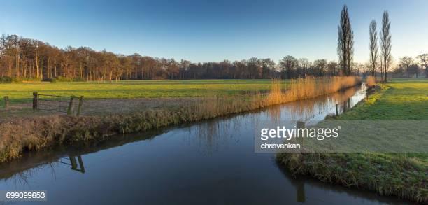 Rural river landscape, Overijssel, Twente, Holland