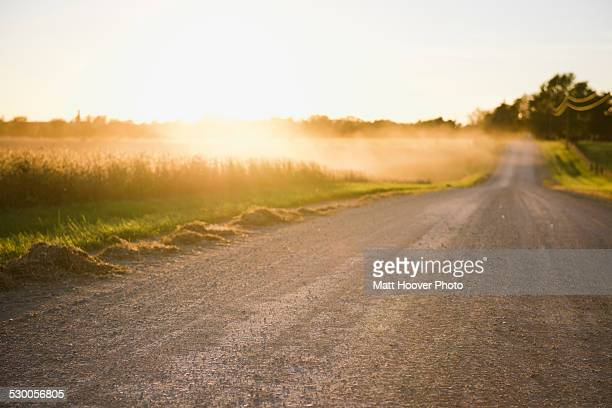 Rural road and mists over fields at sunrise, Missouri, USA