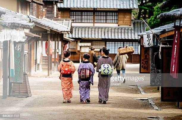 rural scene in old japanse village with wooden houses - kyoto prefecture stock pictures, royalty-free photos & images