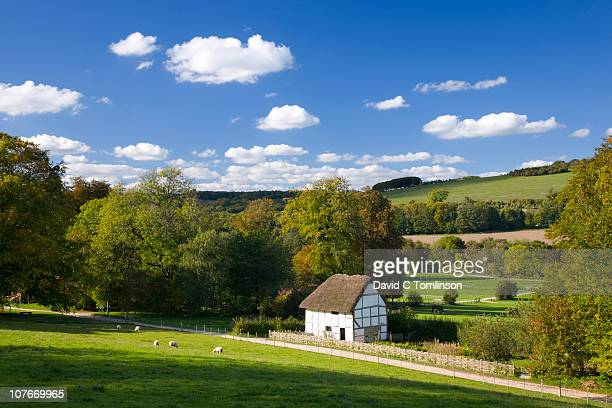 rural scene near chichester, england - cottage stock pictures, royalty-free photos & images