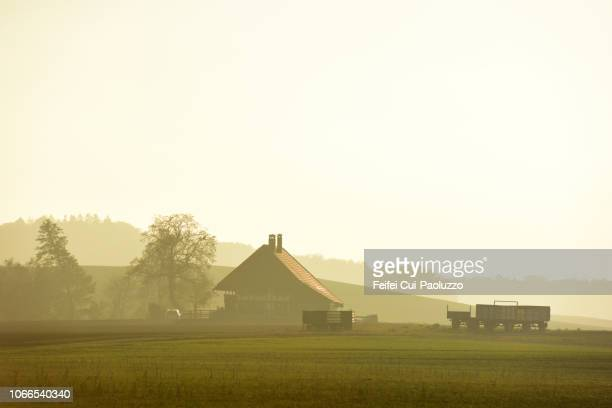 rural scene of epsach, switzerland - farmhouse stock pictures, royalty-free photos & images