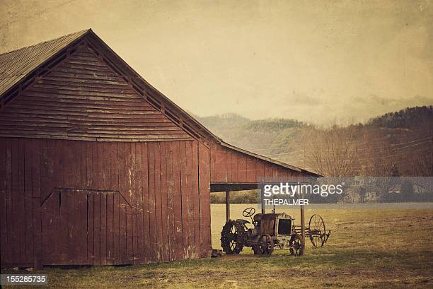 rural scene tractor and barn in tennessee