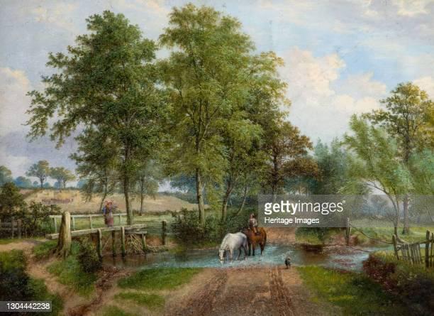 Rural Scene With Horses at Stream, 1870s. Artist J. Jolly.