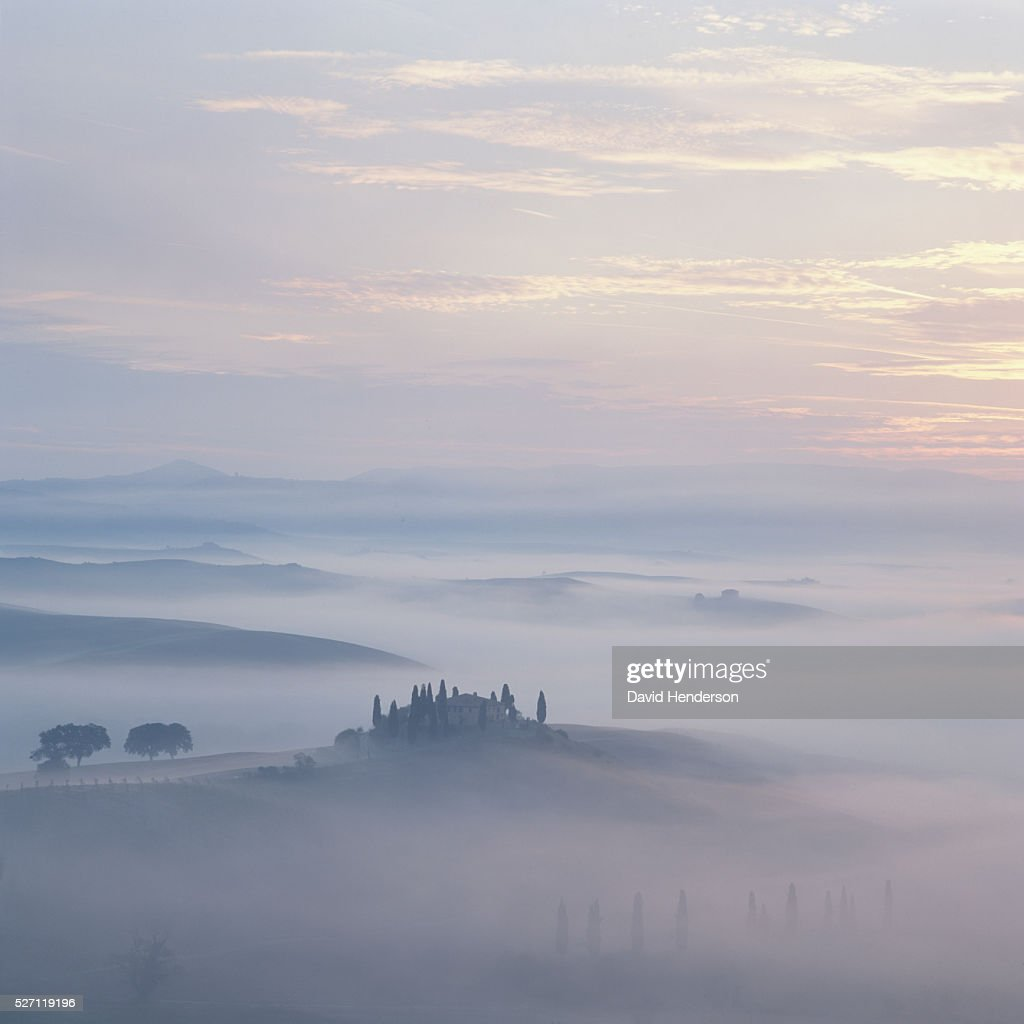 Rural scene with mist at sunrise : Stock-Foto