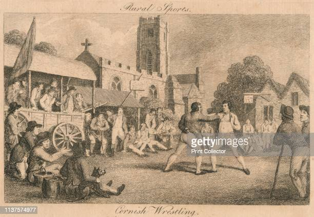 Rural Sports - Cornish Wrestling', late 18th-early 19th century. Spectators watch a wrestling match on a village green in Cornwall. The wrestlers...