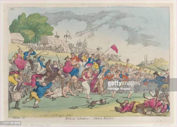 Rural Sports Smock Racing [October 1 1811] reprint Artist Thomas Rowlandson