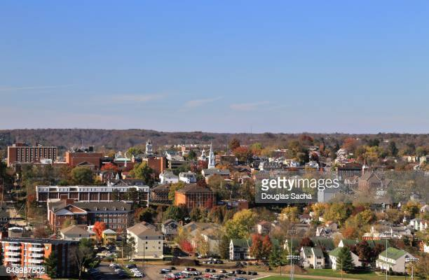 rural town and college campus, athens, ohio, usa - ohio stock photos and pictures