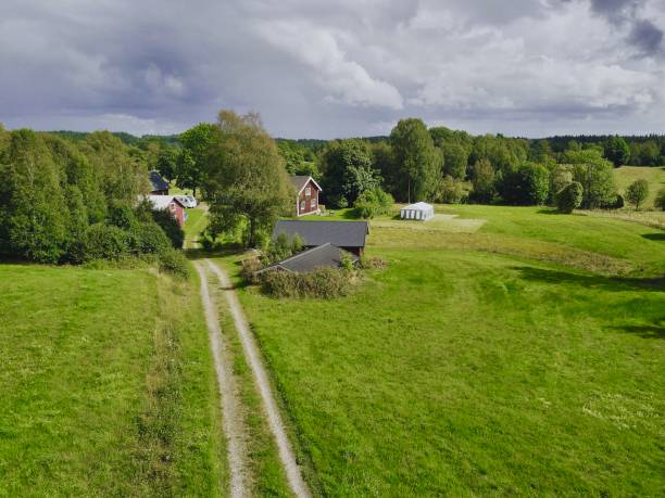 Rural View With Houses And Dirt Road In Gislaved J Nkoping County Sweden