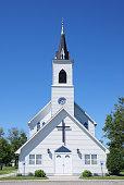 Rural Vintage White Church in North Dakota