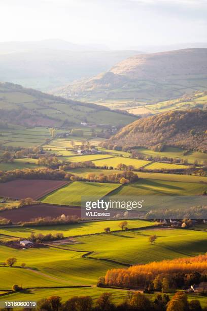rural welsh landscape - landscape scenery stock pictures, royalty-free photos & images