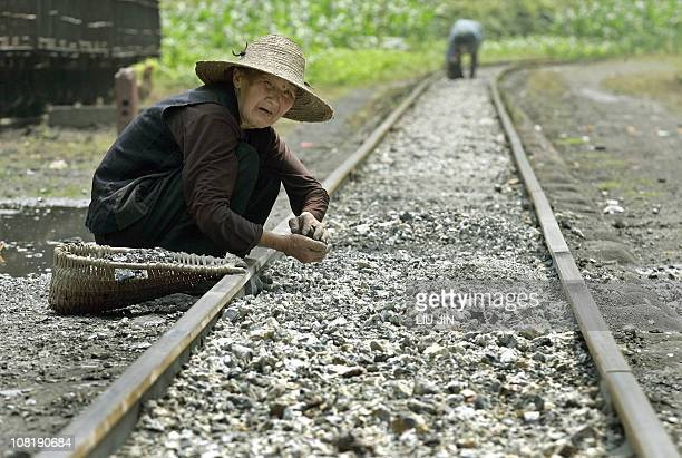 Rural woman collects breeze for her purpose of reusing along a rail in Qianwei county, in China's southwestern province of Sichuan, 23 May 2005. A...