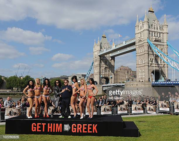 Rusell Brand and Jonah Hill attend a photocall to promote 'Get Him to the Greek' at Potters Field Park on June 20 2010 in London England