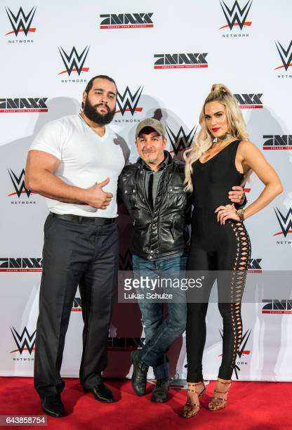Rusev actor Erdogan Atalay and Lana wife of Rusev arrive prior to the WWE Live Duesseldorf event at ISS Dome on February 22 2017 in Duesseldorf...