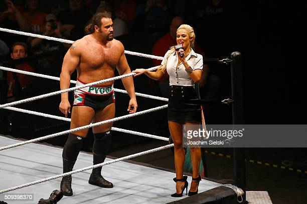 Rusev and Lana during WWE Germany Live Bremen Road To Wrestlemania at OVBArena on February 10 2016 in Bremen Germany