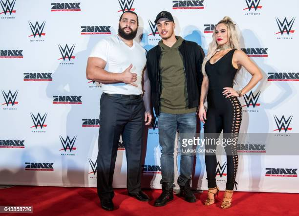 Rusev Jerome Kieswetter of Fortuna Duesseldorf and Lana wife of Rusev arrive prior to the WWE Live Duesseldorf event at ISS Dome on February 22 2017...