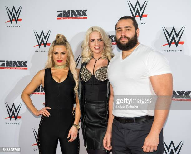 Rusev , Sarah Knappik and Lana, wife of Rusev, arrive prior to the WWE Live Duesseldorf event at ISS Dome on February 22, 2017 in Duesseldorf,...