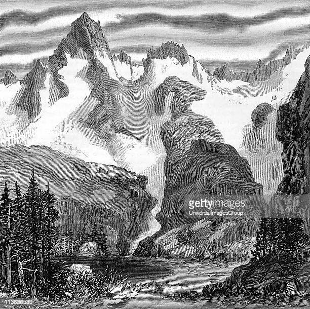 Rush Creek Glacier on eastern slopes of the Sierra Nevada California USA Wood engraving from an article of 1875 by John Muir Scottishborn American...