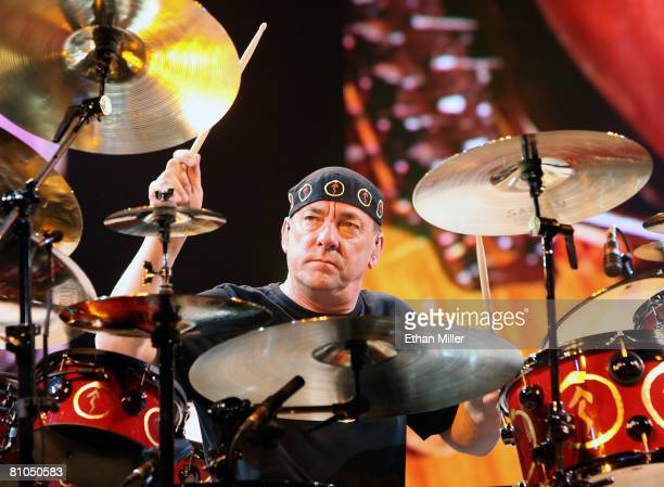 Rush drummer Neil Peart performs at the Mandalay Bay Events Center on May 10 2008 in Las Vegas Nevada The rock trio are touring in support of the...
