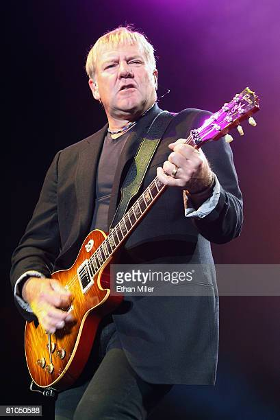Rush guitarist Alex Lifeson performs at the Mandalay Bay Events Center on May 10 2008 in Las Vegas Nevada The rock trio are touring in support of the...