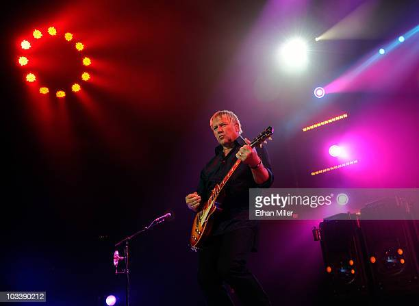 Rush guitarist Alex Lifeson performs at the MGM Grand Garden Arena during a stop of the band's Time Machine Tour August 14 2010 in Las Vegas Nevada