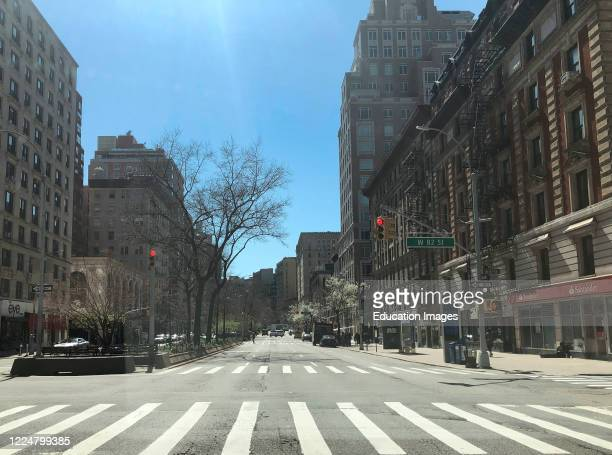 Rush hour and empty highwayon Broadway at West 82nd Street Upper West Side during Coronavirus lockdown in the city Manhattan New York USA