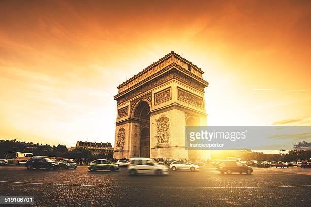 Rush hour at the Arc de Triomphe in Paris