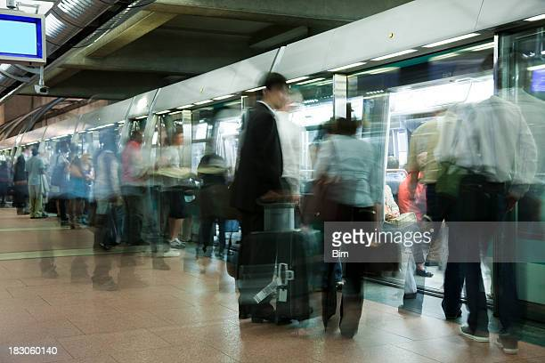 Rush Hour at Undeground Station in Paris, Motion Blur