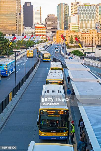 Rush hour bus congestion on bridge in Brisbane, Queensland