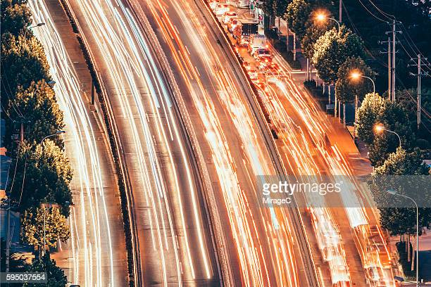 Rush Hour, Car Lights Trail in Motion Blur on Freeway