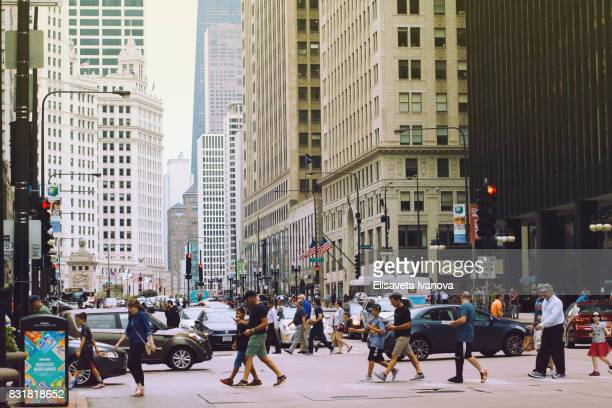 Rush hour in downtown Chicago