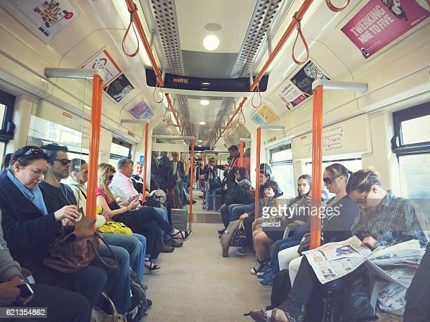 Rush hour in London underground train