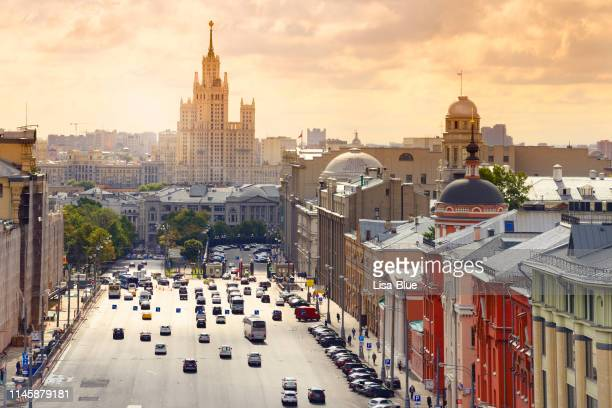 rush hour in moscow street. - moscow russia stock pictures, royalty-free photos & images