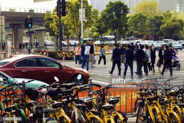 Rush hour in Shanghai, China
