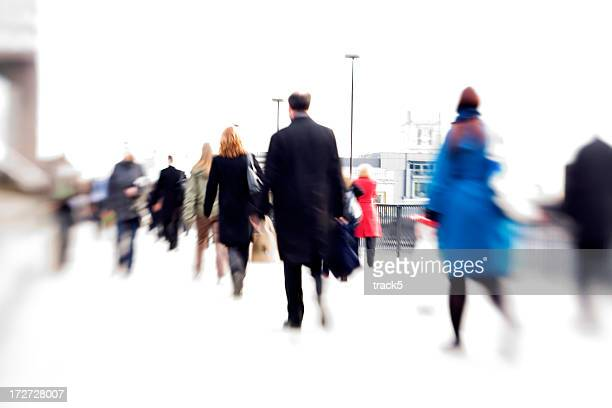 rush hour: office workers abstract blur