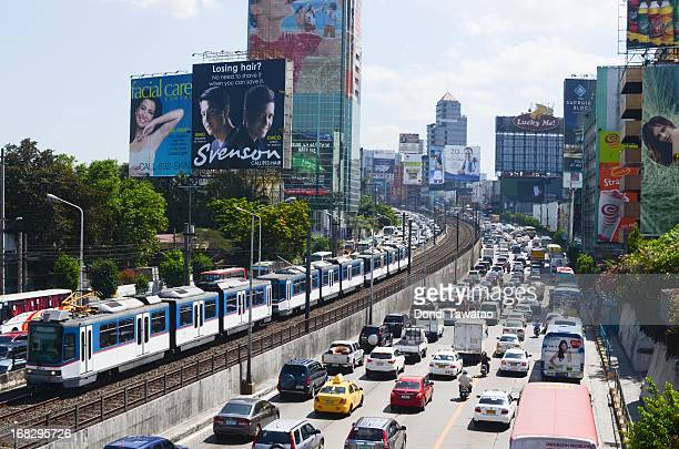 Rush hour on a main thoroughfare in the financial district of Makati on May 8 2013 in Manila Philippines The Philippines is in the throes of a...