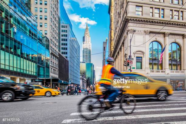 Rush hour on busy street in New York City