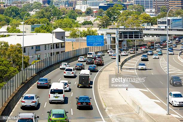 Rush hour on freeway in Sydney, Pacific Motorway M1