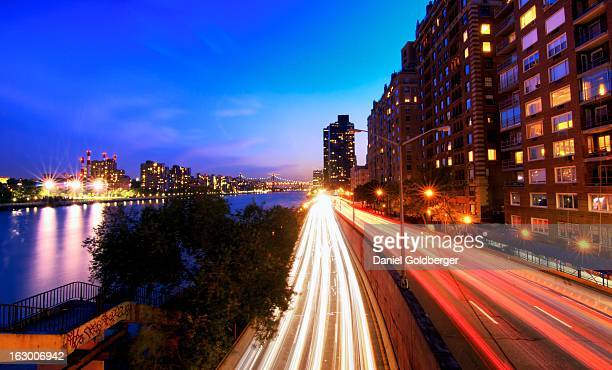 Rush hour on the FDR Drive at blue hour in New York City