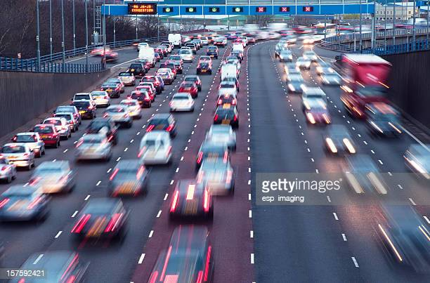 rush hour on urban motorway birmingham uk - traffic stock pictures, royalty-free photos & images