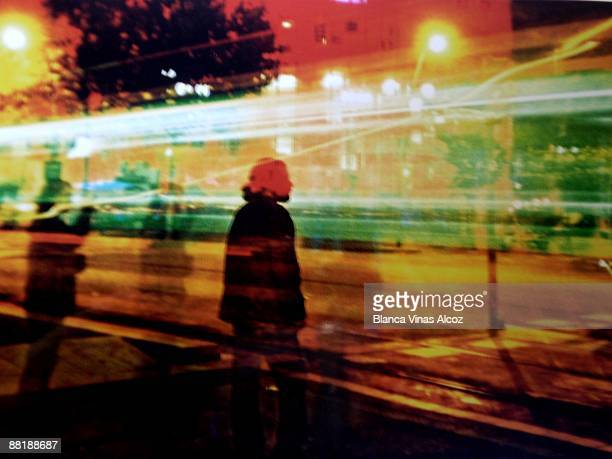 Rush hour street at night