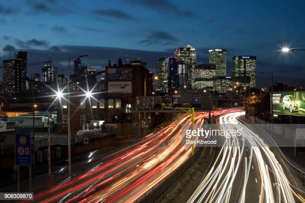 Rush hour traffic begins to buid up heading North through the Blackwall Tunnel past the Canary Wharf business district on January 17 2018 in London...
