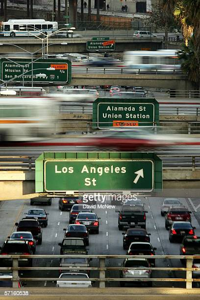 Rush hour traffic clogs the 101 freeway and overpasses on March 22 2006 in Los Angeles California According to a recent report by the Environmental...