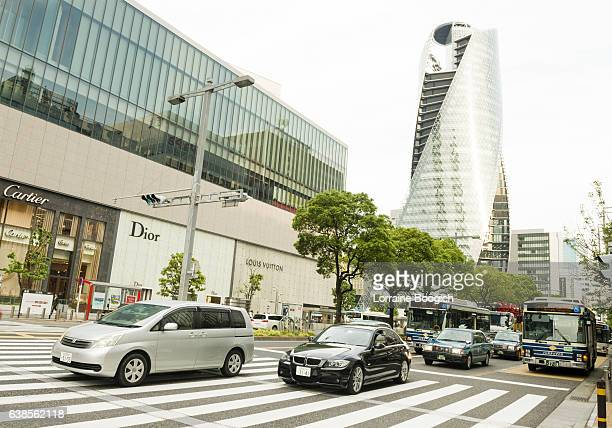 rush hour traffic driving nagoya japan urban city street - nagoya stock pictures, royalty-free photos & images