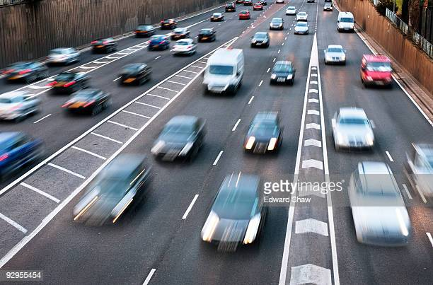 rush hour traffic in birmingham - multiple lane highway stock pictures, royalty-free photos & images