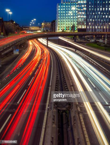 rush hour traffic in glasgow - glasgow scotland stock pictures, royalty-free photos & images