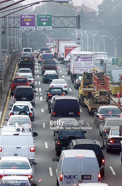 Rush hour traffic is backed up at the approach to the Lincoln Tunnel heading into New York at 8 am as commuting headaches continue in the wake of the...