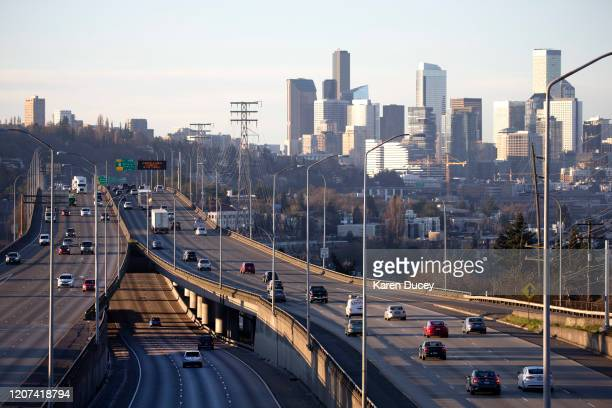 Rush hour traffic is light during the morning commute heading in and out of Seattle on Interstate 5 on March 15 2020 in Seattle Washington Many...