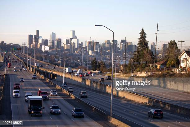 Rush hour traffic is lighter than normal during the morning commute heading in and out of Seattle on Interstate 5 on March 16 2020 in Seattle...