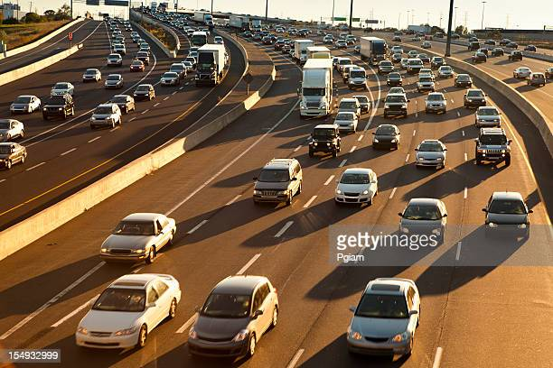 rush hour traffic jam on the freeway - traffic stock pictures, royalty-free photos & images