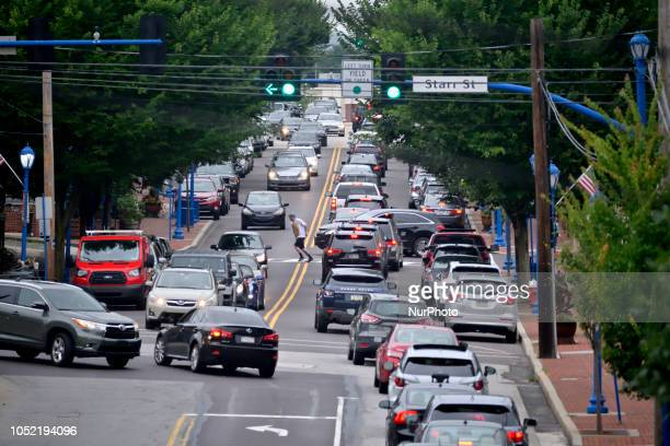 Rush hour traffic makes it's way through the business corridor in Phoenixville PA on August 21 2018 To promote and secure it's recent economic...